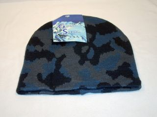 Men's Grand Sierra Knit Camouflage Beanie Hat Cap Ski