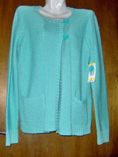 Jones New York Sport Sweater Ladies Medium Cotton Aqua Blue Womens New