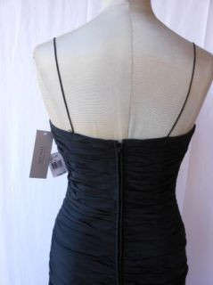 Teri Jon Black Ruched Taffeta Sheath Cocktail Dress Spaghetti Straps 4 $300