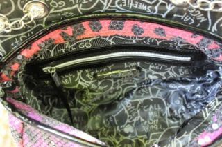 Betsey Johnson Pink Shop with Me Leopard Cheetah Print Sequin Bag Crossbody Flap