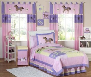 JOJO DESIGNS PINK BROWN WESTERN HORSE COW GIRL KIDS FULL QUEEN SIZED BEDDING SET |