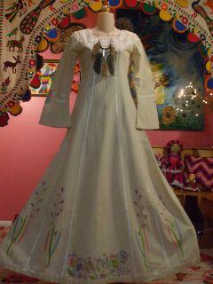 Vtg 60s 70s Hippie Boho Josefa Embroidered Velvet Ethnic Mexican Wedding Dress