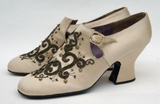 Vintage RARE Jerry Edouard Shoes Gorgeous 1920's Style Ivory Coral Beading Look