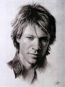 Jon Bon Jovi Sketch Portrait Charcoal Pencil Drawing
