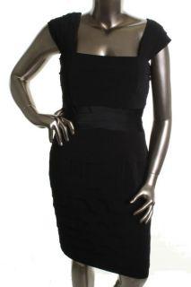 Jones New York NEW Black Cap Sleeve Shutter Pleated Little Black Dress Plus 16W