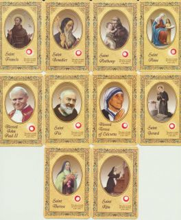 Relic Holy Prayer Card Set of 10 w Pope John Paul II St Benedict PIO Francis