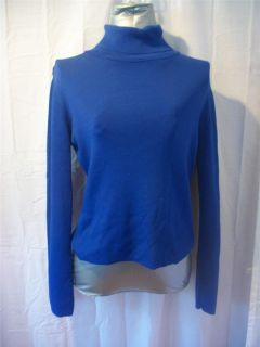 Sz M JOSEPH A Bright Blue Turtleneck Long Sleeve Viscose Knit Top Solid Misses