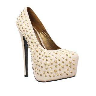 Womens Gold Spike Studded Platform High Heel Stiletto Party Shoes Size 3 8