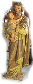 Antique Hand Carved Wood Saint St Joseph Statue Wooden