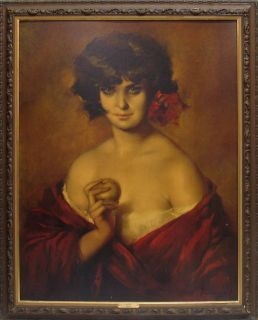 VINTAGE MYSTERIOUS EVITA RED ROSE PRETTY LADY PUYET PAINTING PRINT FRAME BIG