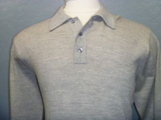 Jos A Bank Mens 100 Italian Merino Wool Collared Sweater Gray L