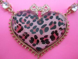 Betsey Johnson Pink Leopard Three Heart Necklace