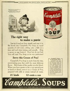 1923 Ad Joseph Campbells Souper Kid Poem Canned Pea Soup Puree Red White Label