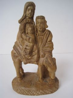 Vtg Holy Family Jesus Mary Joseph Hand Carved Wood Figurine Statue Bethlehem