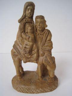 Vtg Holy Family Jesus Mary Joseph Hand Carved Wood Figurine Statue Bethlehem