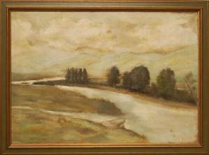 Landscape Antique Oil Painting by Wilbur Joseph McElroy