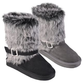 Journee Collection Kid's 'Huffy' Buckle Accent Faux Fur Boots