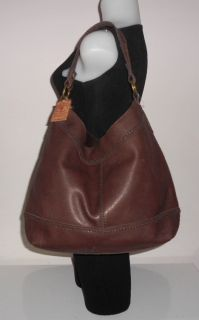 Lucky Brand Handbag Dark Brown Leather Joshua Tree Braided Trim Bucket Hobo