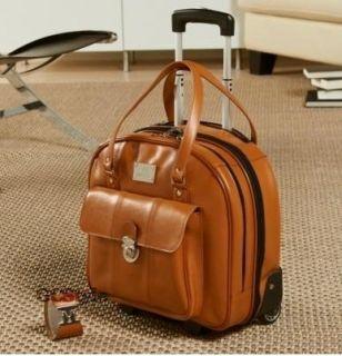 Joy Mangano Leather Wheeled Roller Briefcase Laptop Overnight Bag Cognac