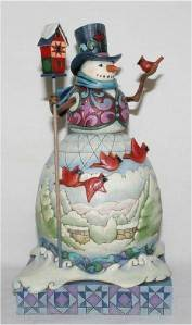 "Jim Shore Heartwood Creek ""Winter on The Wing"" Cardinal Snowman Figurine 4015136"