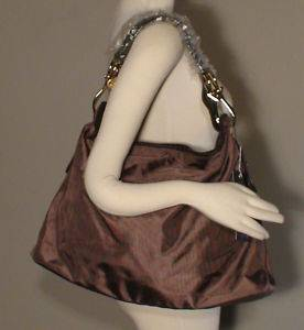 JPK 75 Paris Dark Taupe Brown Nylon Large Sasha Hobo Bag Leather Retail $247