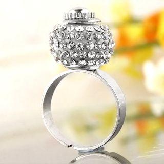 White Crystal Resin European Bead Finger Ring US6 New