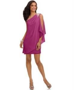 JS Boutique NEW pink Chiffon Embellished One Shoulder Cocktail Dress 16 j2