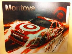 Autographed biography card from Colombian NASCAR driver Juan Pablo Montoya