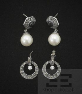 Judith Jack 2 Piece Sterling Silver Marcasite Onyx Pearl Drop Earrings Set