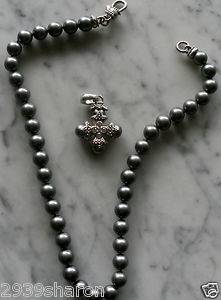 AUTH JUDITH RIPKA STERLING SILVER DIAMONIQUE CROSS 18 INCH FAUX PEARLS NECKLACE