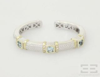 Judith Ripka 18K Yellow Gold Sterling Silver Blue Topaz Diamond Bracelet