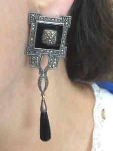 Vintage Judith Jack 80's Long Sterling Onyx Earrings