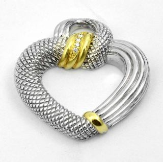 Judith Ripka 18k Gold Sterling Silver Diamond Heart Pendant 4 Necklace Bracelet