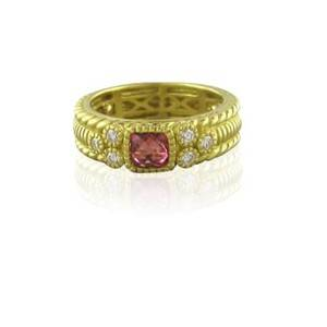 Judith Ripka 18KT gold diamond pink tourmaline ring band size 6 3 4