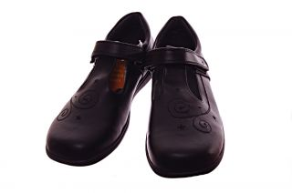 Girls School Uniform Shoes Black Genuine Leather Non Marking Sole Size 7 New
