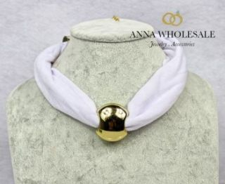 Women's Gold opean Beads Charm Collar Cotton Short Pendant Necklace Scarf
