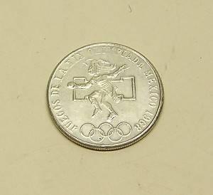 """1968 Mexico 25 Pesos Coin """"Juegos de La XIX Olimpiada"""" 0 720 Silver Olympics"""