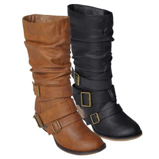 Journee Collection Women's 'Gossip 5' Buckle Accent Mid Calf Boots