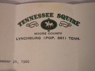 Jack Daniels Vintage Tenn Squire Black Eyed Peas Hog Jowl Letter Dec 1980