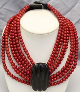 L30 HUGE VINTAGE RUNWAY RED WOODEN BEADS AND BLACK HORN NECKLACE