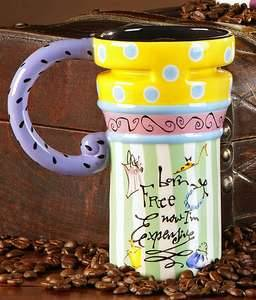 Joyce Shelton Ceramic Travel Mug 14 oz Born Free Now I'M Expensive 301704 New