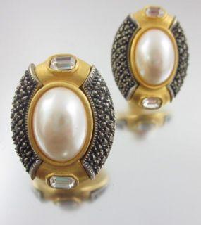 Judith Jack Gold Tone Marcasite Faux Pearl Earrings