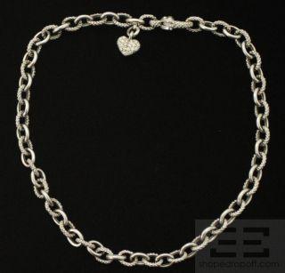 Judith Ripka 18K White Gold Diamond Heart Chain Link Necklace