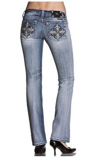 NWT Miss Me Size 28 Fleur de Lis Clover Boot Cut Lowrise Stretch Jeans JP5420B