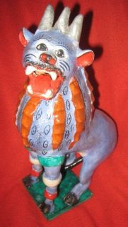 Juan Jose Medrano Ceramic Folk Art Barro Betus Traditional Blue Lion
