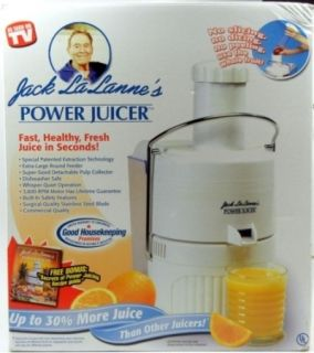 Jack Lalanne Power Juicer Juicing Machine Dishwasher Safe JLPJB White