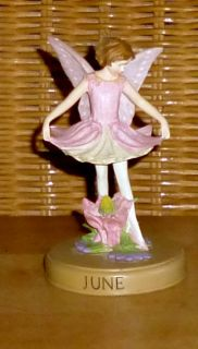 Mint Flower Fairies Perpetual Calendar June Columbine Figurine