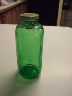 Vintage Emerald Green Depression Glass Juice Bottle