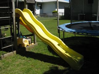 Yellow Wave Slide for Swingset Jungle Gym Fort Tree House Used