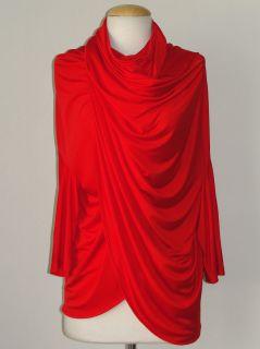 JUNYA Watanabe 2012 Red Twist Neck Draped Jersey Top Sz M